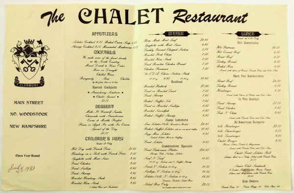 1983 Vintage Full Size Menu THE CHALET RESTAURANT No. Woodstock New Hampshire
