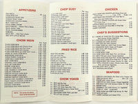 1981 Menu CHAN'S FINE ORIENTAL DINING Jazz #2 Son's Catering Woonsocket RI