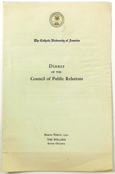 1935 Menu CATHOLIC UNIVERSITY AMERICA PUBLIC RELATIONS Willard Hotel Washington