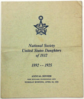 1925 Menu NATIONAL SOCIETY UNITED STATES DAUGHTERS Of 1812 Willard Hotel DC