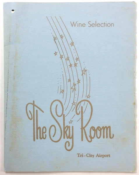 1960's Vintage Menu & Wine List THE SKY ROOM Tri-City Airport Freeland Michigan