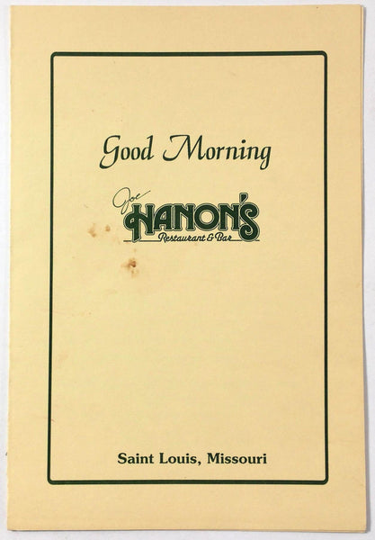 1987 Vintage Breakfast Menu JOE HANON'S Restaurant & Bar Saint Louis Missouri