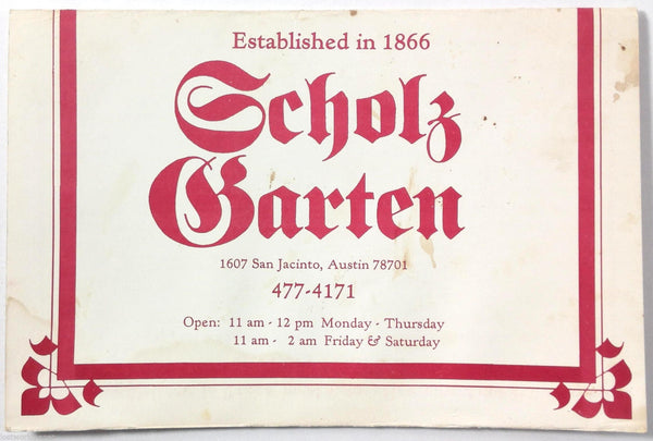 1990 Vintage Menu Historic SCHOLZ GARTEN Restaurant Bar Austin Texas