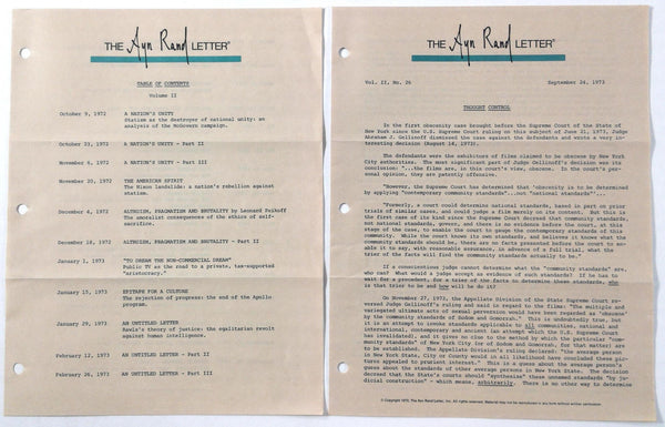 1972 1973 Original AYN RAND Volume #2 Letter #26 Thought Control & Contents Page
