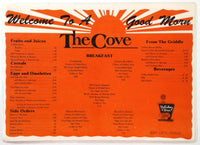 1980's Laminated Placemat Menu HOLIDAY INN - THE COVE Restaurant Bay City Texas