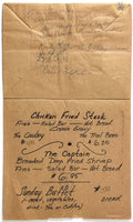 1985 Vintage Paper Bag Menu COUNTY SEAT RESTAURANT Old Town Coldspring Texas