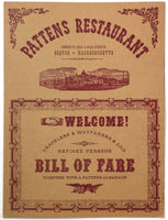1966 Vintage Full Size Menu PATTENS RESTAURANT Boston Massachusetts