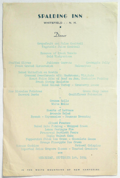 Ghost Hunters Haunted - 1954 Vintage Menu SPALDING INN Whitefield New Hampshire