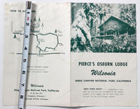 1950's Brochure PIERCE'S OSBURN LODGE Wilsonia Village Kings Canyon Nat. Park CA