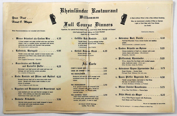 1960's Vintage Dinner Menu DER RHEINLANDER German Restaurant Portland OR
