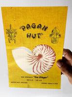 1970's Vintage COCKTAIL & DRINKS Menu PAGAN HUT King Surf Apartment Depoe Bay OR