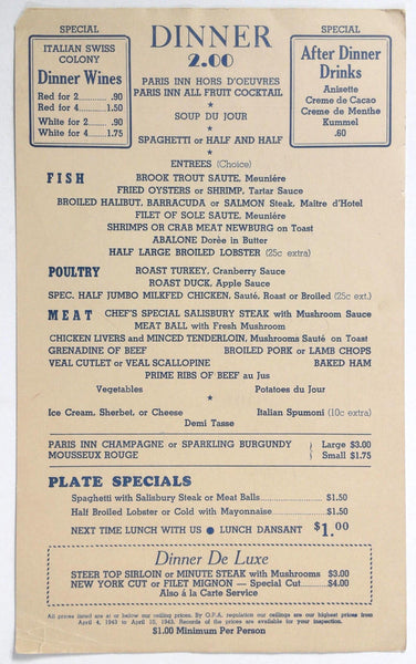 1940's Vintage WWII War Ration OPA Dinner Mystery Menu PARIS INN Unknown City
