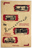 1940's Vintage Menu THE INTERNATIONAL RESTAURANT San Antonio Texas