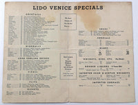 1940's Vintage MYSTERY Wine List & Cocktails Menu LIDO VENICE Unknown Location
