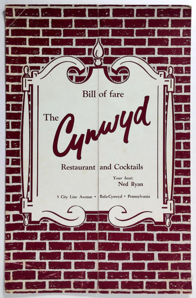 1960's Vintage Menu THE CYNWYD RESTAURANT & COCKTAILS Bala-Cynwyd Pennsylvania