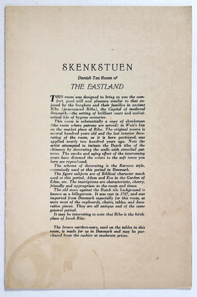 1940 Vintage Menu Skenkstuen DANISH TEA ROOM THE EASTLAND HOTEL Portland Maine
