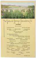 1927 Original Vintage Dinner Menu Card VISTA DEL ARROYO HOTEL Pasadena CA