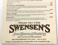1980's Vintage CARRY OUT Menu Card SWENSEN'S ICE CREAM FACTORY Kansas City MO