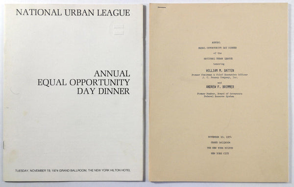 1974 Program NATIONAL URBAN LEAGUE Annual Equal Opportunity Day Dinner NY Hilton
