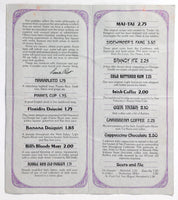 1970's Vintage Coktails & Drinks Menu THE DOWN UNDER Restaurant Ft Lauderdale FL