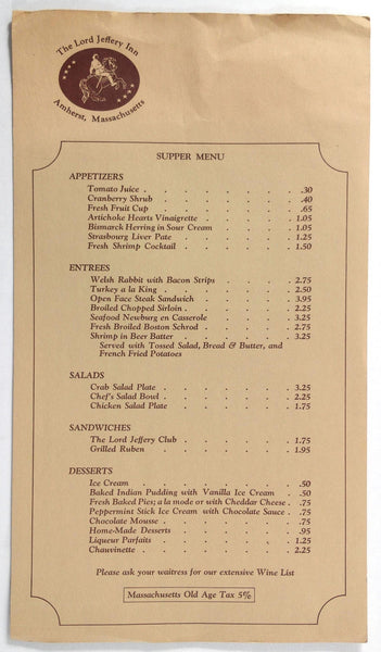 1970's Vintage Supper Menu THE LORD JEFFERY INN On The Common Amherst MA