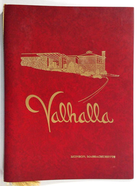1971 Vintage Menu Lot VALHALLA Restaurant Monson Massachusetts