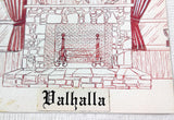 1970's Vintage Printer Artist Proof Napkin Design VALHALLA Restaurant Monson MA