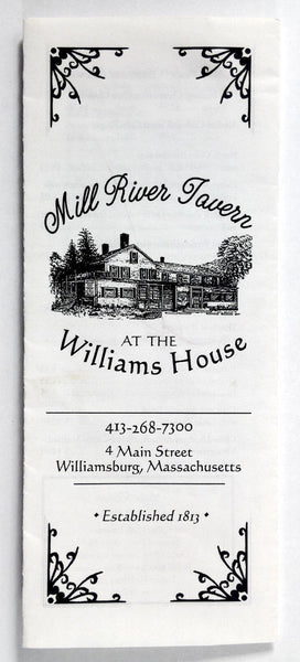 1980's Vintage Take-Out Menu MILL RIVER TAVERN Williams House Williamsburg MA