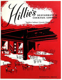 Vintage PRINTER SAMPLE Menu HILLIE'S Restaurant & Cocktail Lounge Washington IN