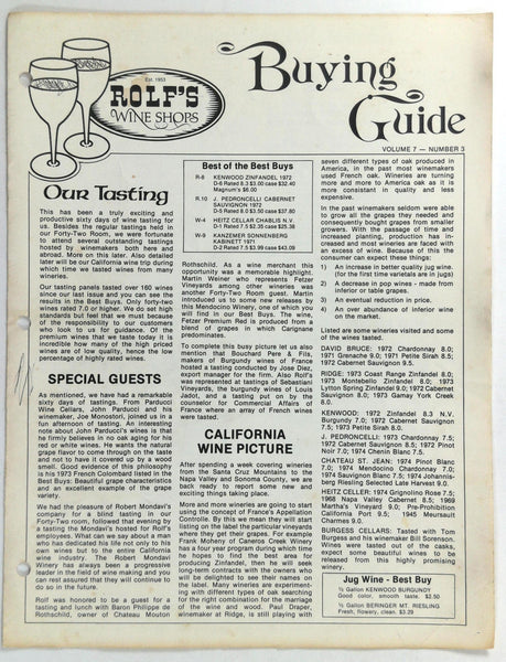 1975 ROLF'S WINE SHOPS Buying Guide California Tustin Irvine Tasting Room Engen
