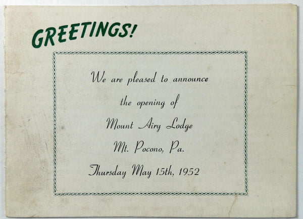 1952 Advertisement Card Opening Of MOUNT AIRY LODGE Mt. Pocono PA Photographs