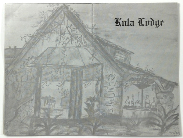 1960's Original Vintage Menu KULA LODGE Restaurant Kula Maui Hawaii Wattle Wood
