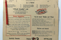 1962 Original Vintage Menu THE RALEIGH HOTEL Washington DC & Swizzle Stir Stick