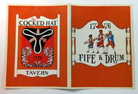 1960's Vintage Mystery Menu COCKED HAT TAVERN 1776 Fife & Drum  - City Unknown