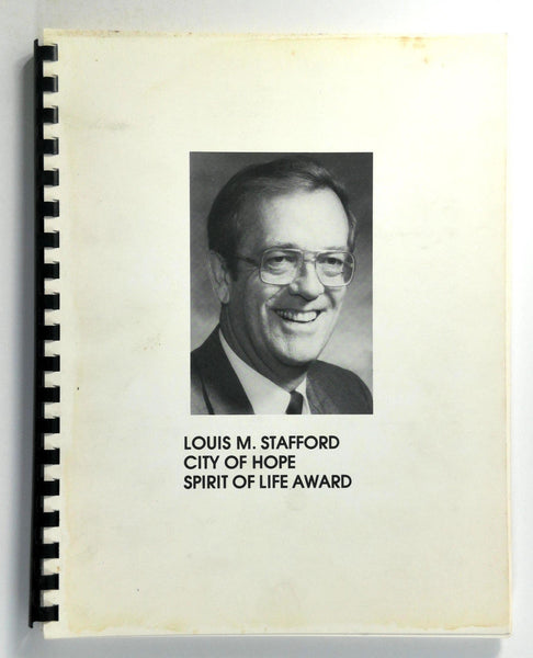 1984 CITY OF HOPE Construction Industries LOUIS M. STAFFORD Spirit Of Life Award