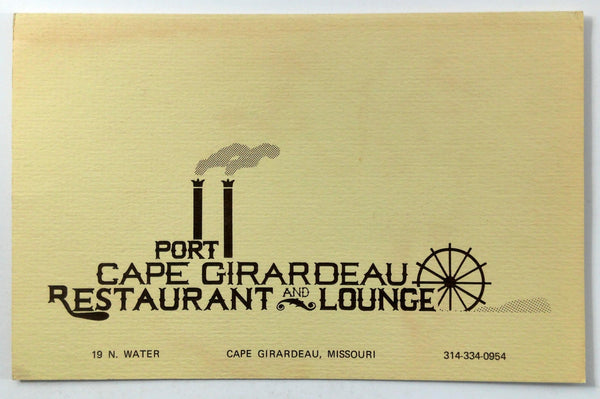 1978 Original Vintage Menu PORT CAPE GIRARDEAU Restaurant & Lounge Missouri