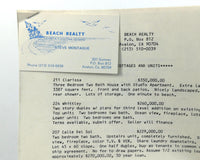 Vintage BEACH REALTY Cottages Condos Lots PRICE LIST Avalon Catalina Island CA