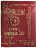 1970's Vintage Menu CHEN'S CANTONESE CHEF Chinese Restaurant Loves Park IL
