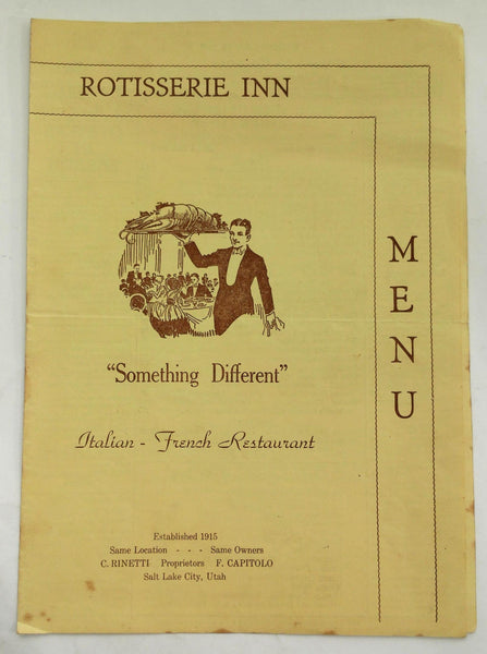 1946 Full Size Menu ROTISSERIE INN Restaurant Italian French Salt Lake City Utah