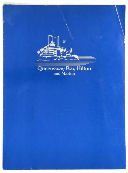 1990's Original Vintage Menu QUEENSWAY BAY HILTON & MARINA Long Beach California