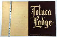 1958 Original Vintage Dinner Menu TOLUCA LODGE Restaurant Burbank California