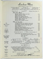 1950's Vintage Lunch & Wine Menu WAVERLY INN Restaurant Cheshire Connecticut