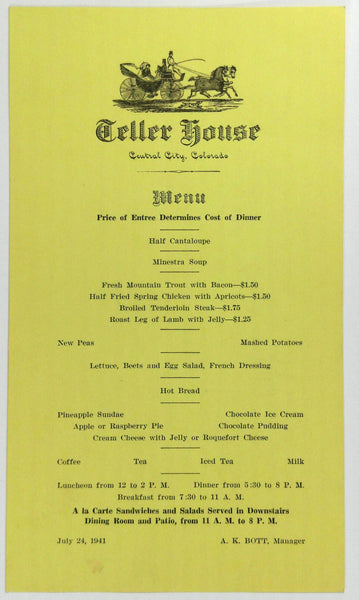 1941 Original Vintage Menu Card TELLER HOUSE Restaurant Central City Colorado