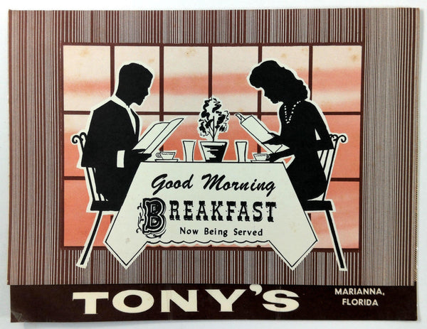 1961 Vintage Original BREAKFAST Menu TONY'S Restaurant Marianna Florida