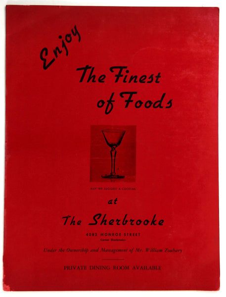 1960's Original Vintage Menu THE SHERBROOKE INN RESTAURANT Toledo Ohio