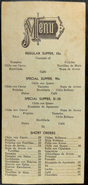 1930's FARNSWORTH TEX-MEX Menu ORIGINAL MEXICAN RESTAURANT San Antonio Texas