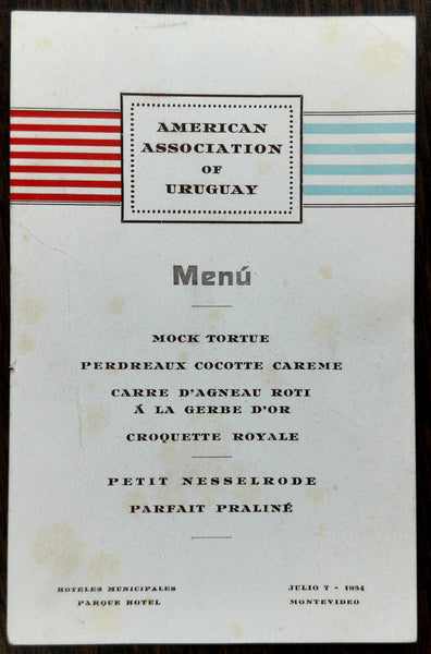 1934 Old Menu AMERICAN ASSOCIATION OF URUGUAY Hoteles Municipales Parque Hotel