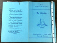 1940's Orig Menu THE LIGHTSHIP Restaurant Anchored At Gloucester Massachusetts