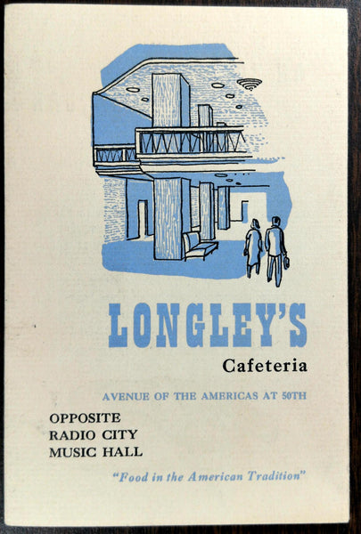 Old Vintage Brochure LONGLEY'S CAFETERIA Restaurant History New York City