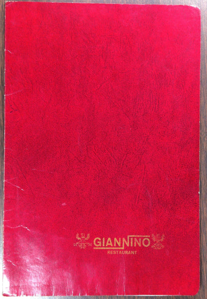 Old Vintage Dinner Menu GIANNINO Restaurant ? Italy ? USA ?